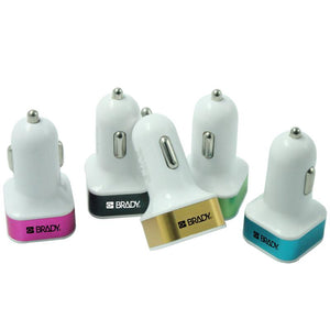 Dual-Port Car Charger With Coloured Metal Edge