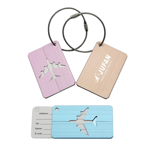 Brushed Metal Luggage Tag With Aeroplane Design