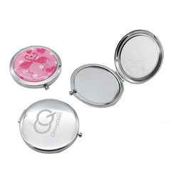 Round Flip Pocket Mirror with Flamingo Designs