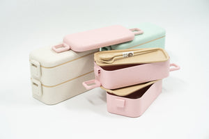 Two Tier Eco Wheat Straw Lunch Box with Cutlery