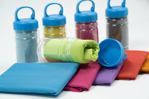 Cooling Sports Towel in Plastic bottle with Hook