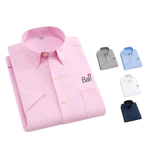 Collared Button-Up Short-Sleeved Shirt with Front Pocket