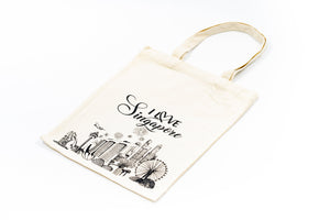 Cotton Canvas Tote Bag with Singapore Design