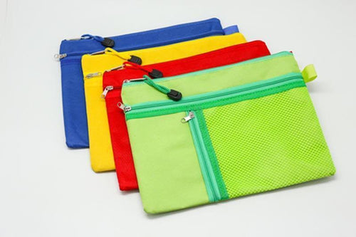 3 Compartment Fabric Pencil Case (A5)
