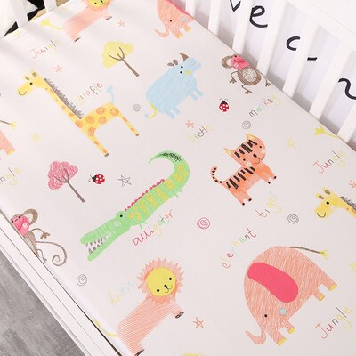 Baby Kids Bed Sheet Crib Mattress Cover Bedding Set Cartoon Parteen For Girls Boys | Heccei