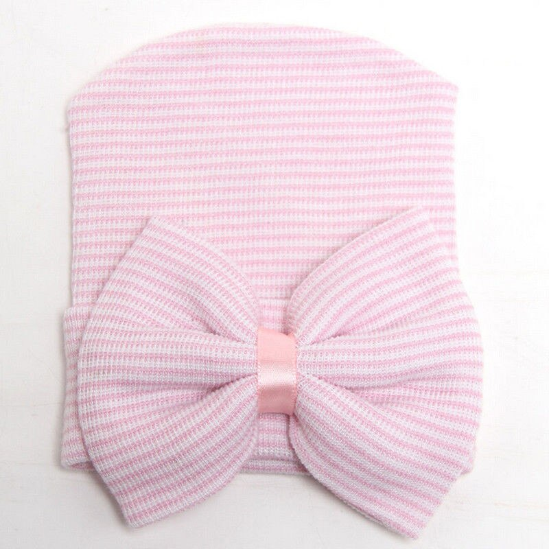 Newborn Baby Infant Girl&Boy Comfy Bowknot Striped Hat | Heccei