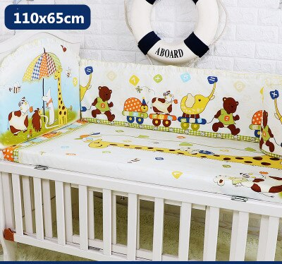 5 Pcs Cotton Baby Bedding Set Crib Bed Bumper For Newborn  Baby | Heccei