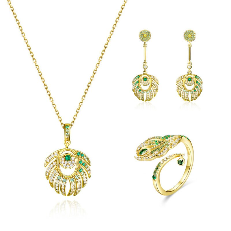 Queen Peacock Feather Pendant Necklace and Earrings | Heccei