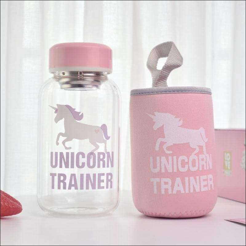 600ml Cartoon Unicorn Glass Water Bottle with Cloth Protection Cover | Heccei