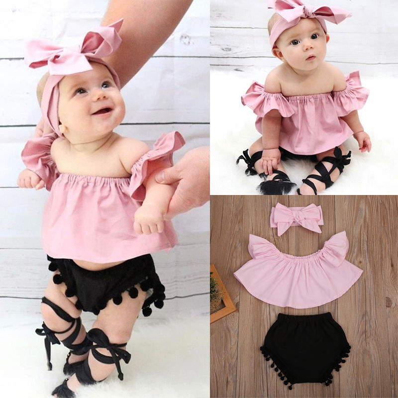 Baby Kids Girl Clothes T-shirt+Short Pants Outfits Set