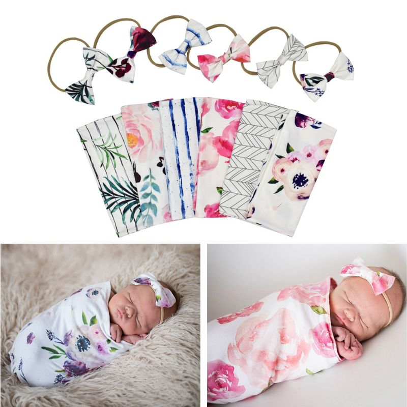 Newborn Baby Blankets Sleeping Swaddle Muslin Wrap +Headband 2PCS | Heccei