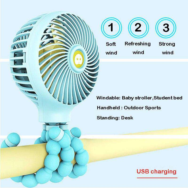 Mini Stroller Fan Baby Bed Fan with USB Rechargeable | Heccei