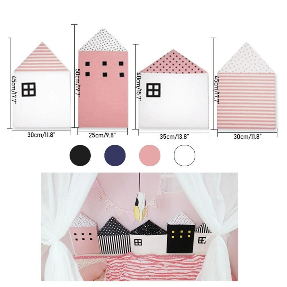 4pcs Baby Bed Bumper Little House Pattern Crib Protection | Heccei