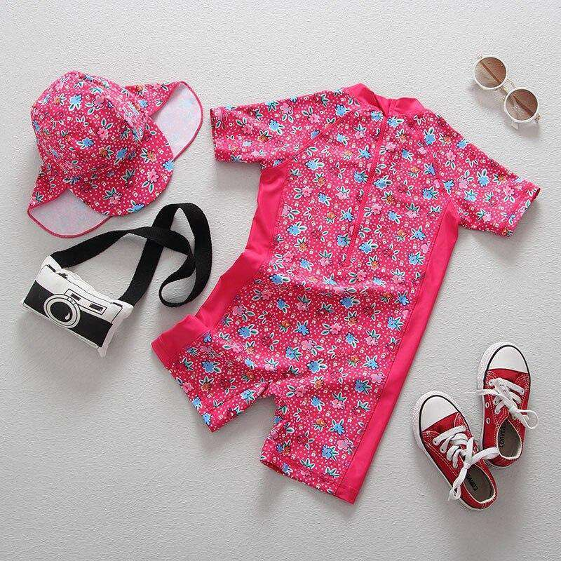 Girls Swimwear Floral Print Short Sleeve One Pieces Swimsuit | Heccei