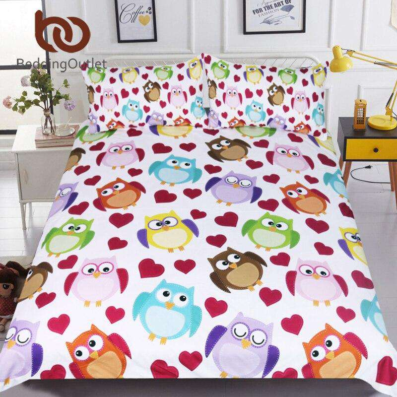Cartoon Owls Bedding Set | Heccei