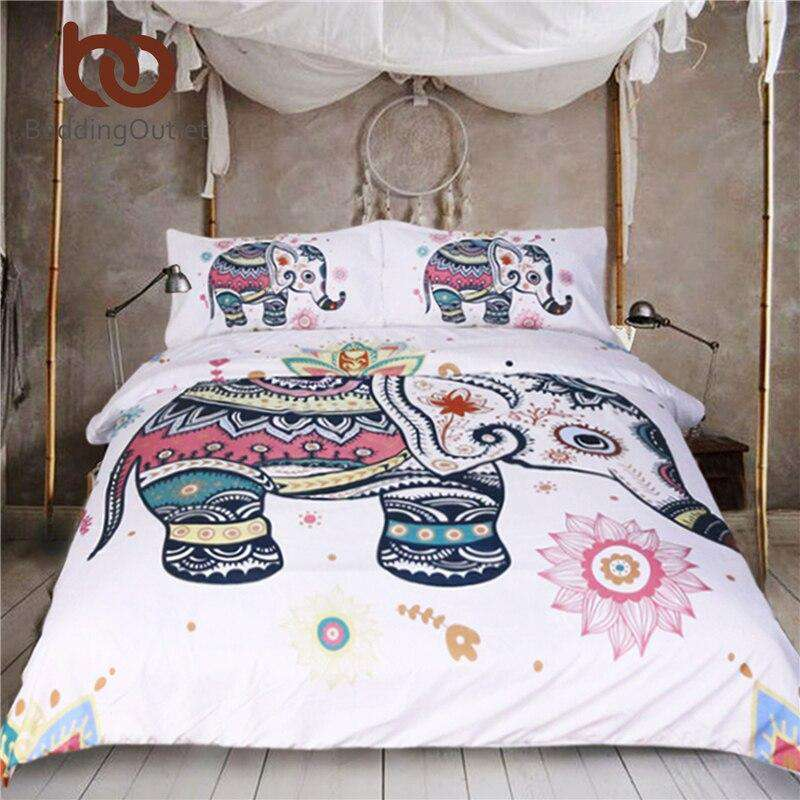 BeddingOutlet 3 Pcs Rainbow Mandala Elephant Duvet Cover Set Bohemian Pastel Floral Bed Set Hippie Gypsy Bedding Queen