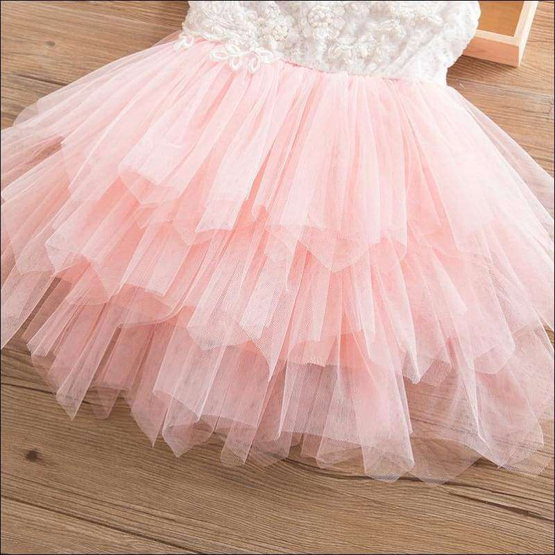 Beaded Lace Back Tutu Flower Little Girls Dress | Heccei
