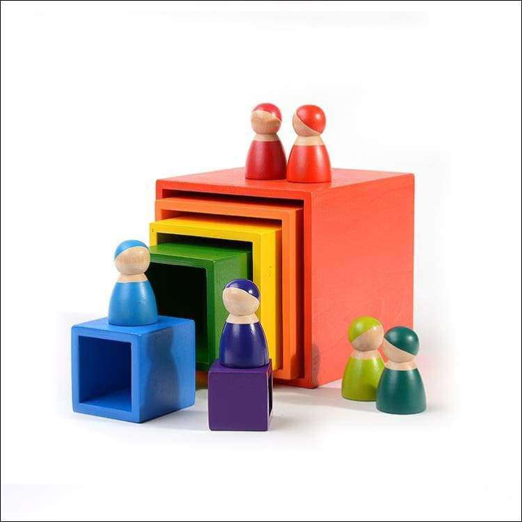 Large Rainbow Set of Boxes-Rainbow Wooden Toys | Heccei