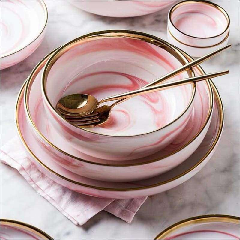 Pink Marble Ceramic Tableware Range | Heccei