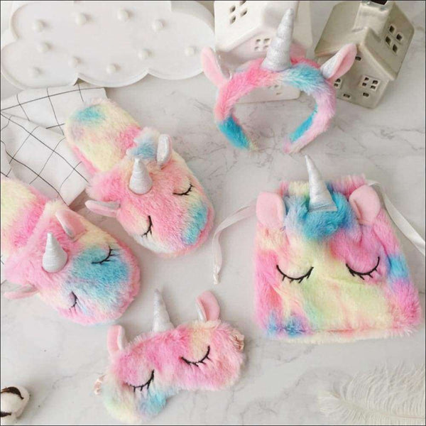 Rainbow Unicorn Slippers,Cozy Blinders,Fluffy Drawstring Bags,Plush Head Bands