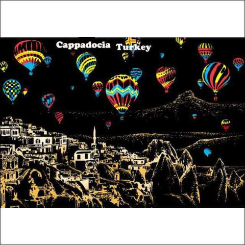 Scratch Art Cappadocia Turkey City Night View Painting 40*28.5 cm | Heccei