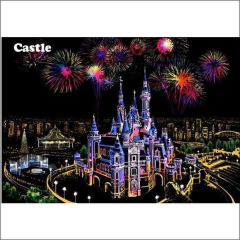 Scratch Art Disney Castle City Night View Painting 40*28.5 cm | Heccei