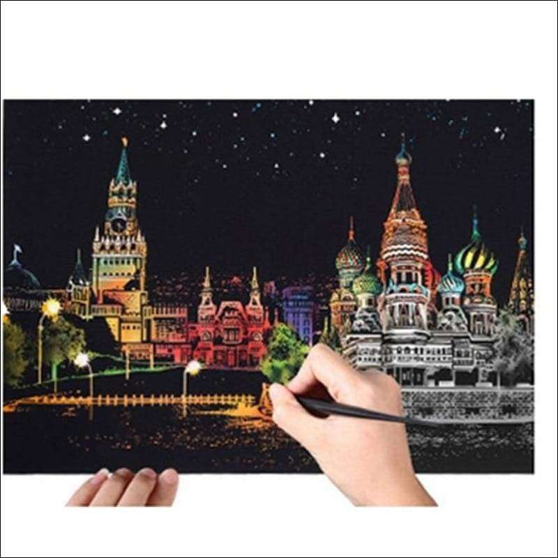 Scratch Art Eiffel Gold City Night View Painting 40*28.5 cm | Heccei