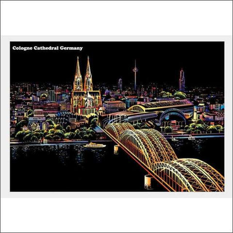 Scratch Art Germany City Night View Painting 40*28.5 cm | Heccei