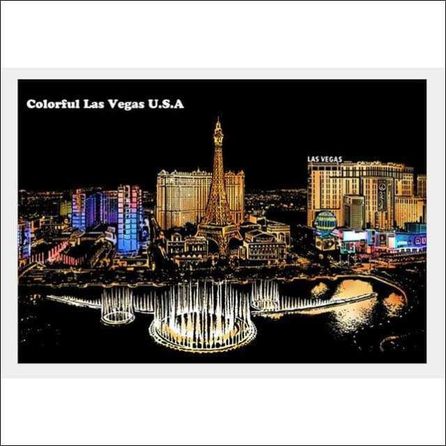 Scratch Art Las Vegas City Night View Painting 40*28.5 cm | Heccei