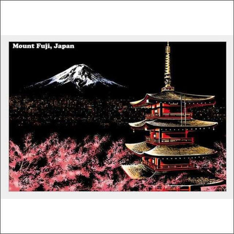 Scratch Art Mount Fuji Japan City Night View Painting 40*28.5 cm | Heccei