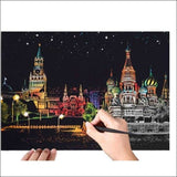 Scratch Art Russia City Night View Painting 40*28.5 cm | Heccei