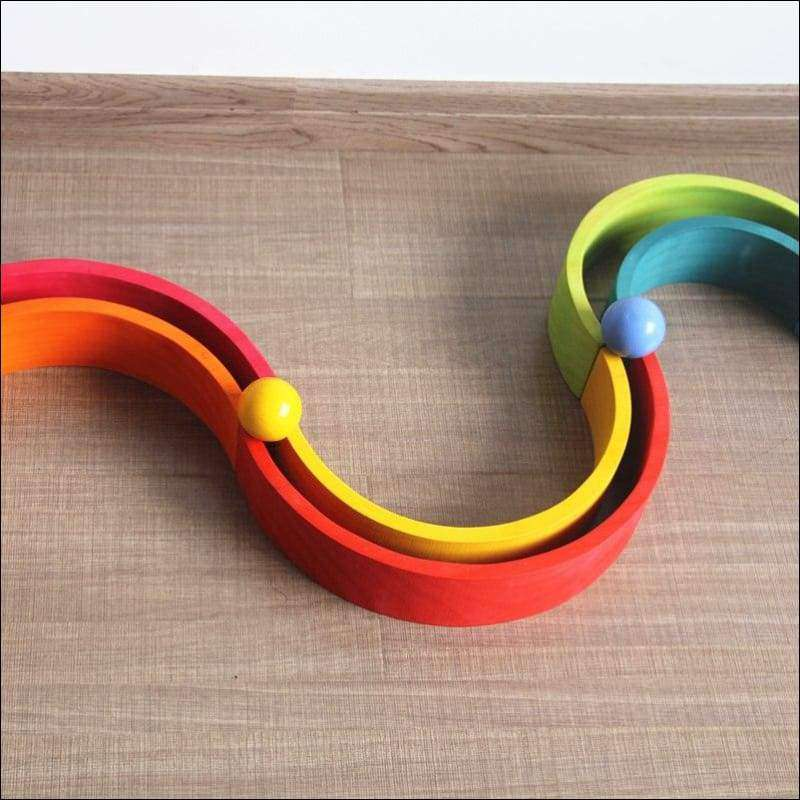 Set of Wooden Balls in a Rainbow of Colors 6PCS | Heccei