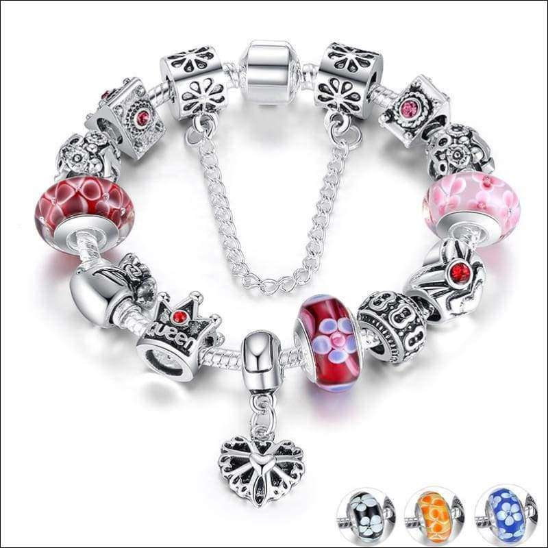 Silver Bracelets & Bangles With Queen Crown Beads Women/Girls | Heccei