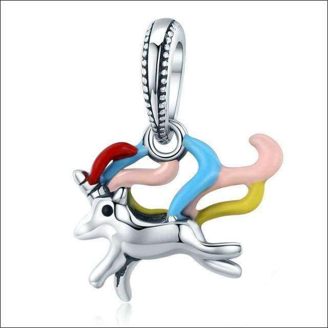 Sterling Silver Colorful Unicorn Charm Pendant Beads | Heccei
