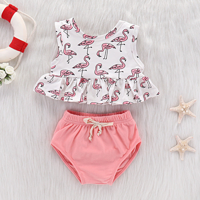 Summer Clothes Cartoon Flamingo Toddler Infant Baby Girls Sleeveless Tops+Shorts Outfits 2PCS Set