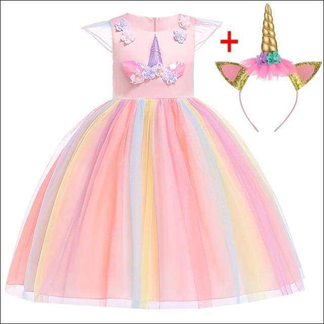 Unicorn Costume Outfit Princess Party Dress with Headband | Heccei