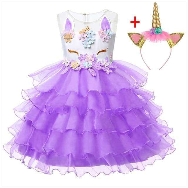 Unicorn Costume Pageant Flower Princess Party Dress with Headband | Heccei