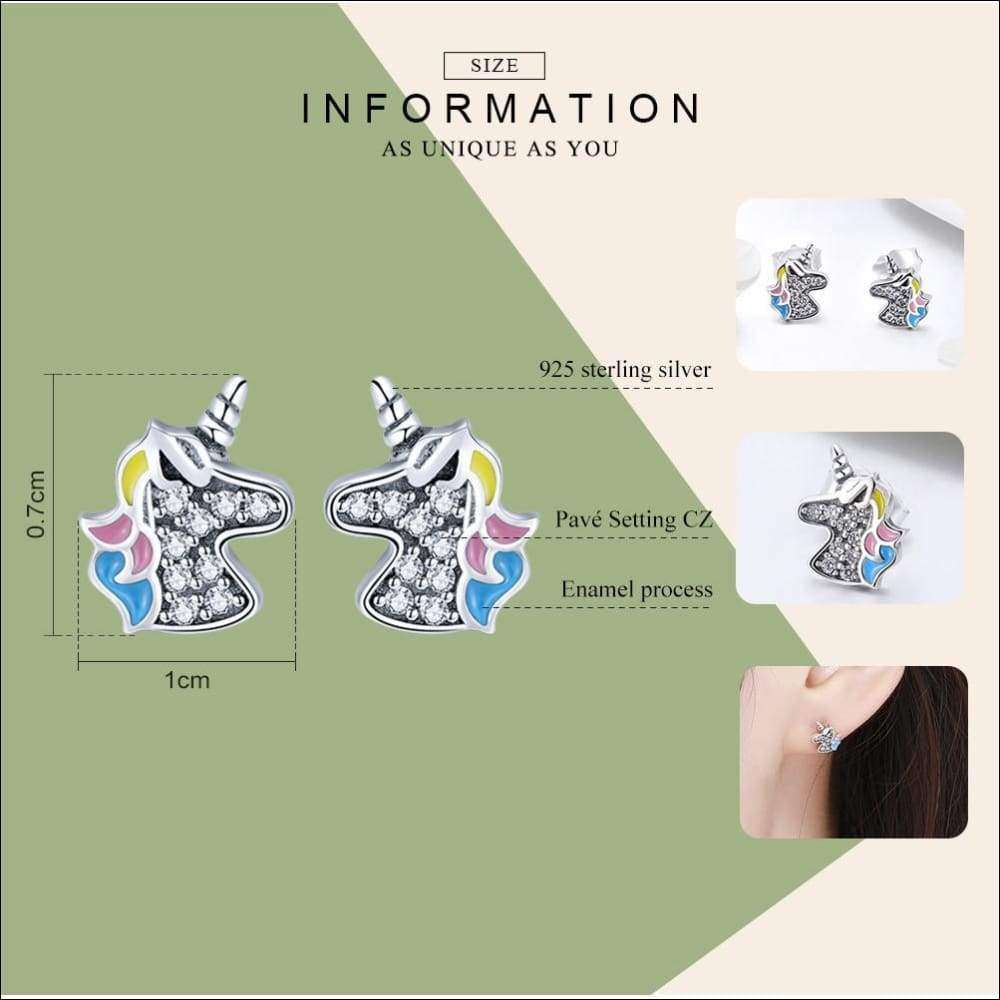 Unicorn Earrings 925 silver | Heccei