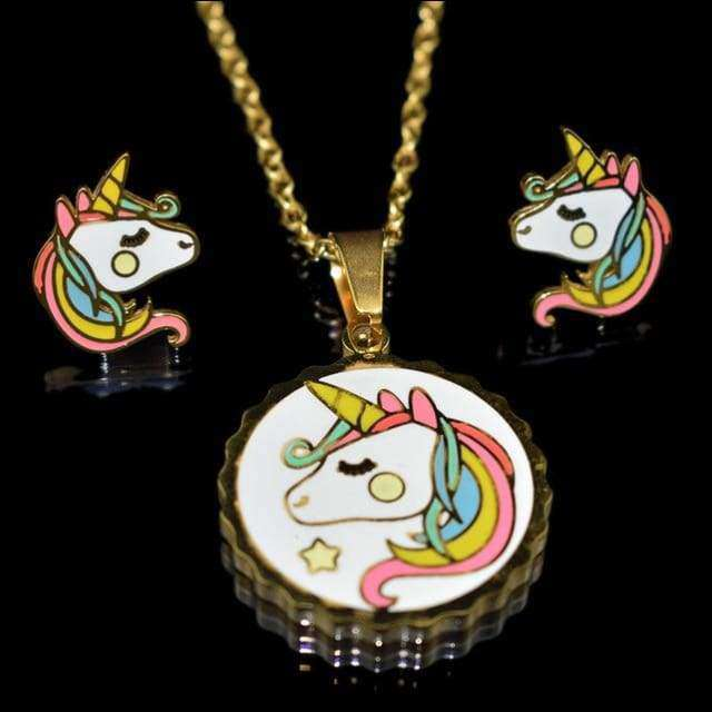 Unicorn  Necklace Earrings Fashion Jewelry Set | Heccei