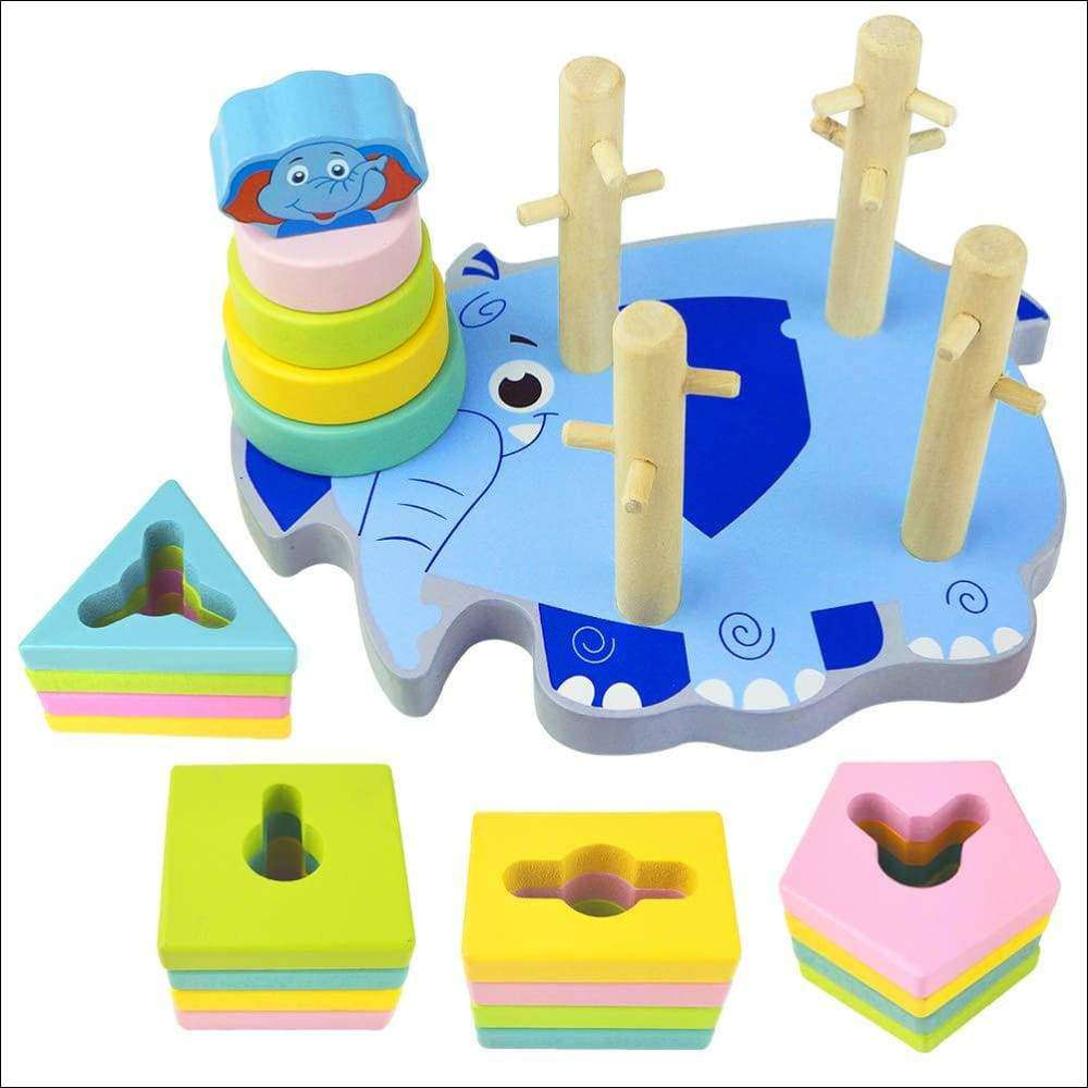 Wooden Elephant Shapes Puzzles for Toddlers | Heccei