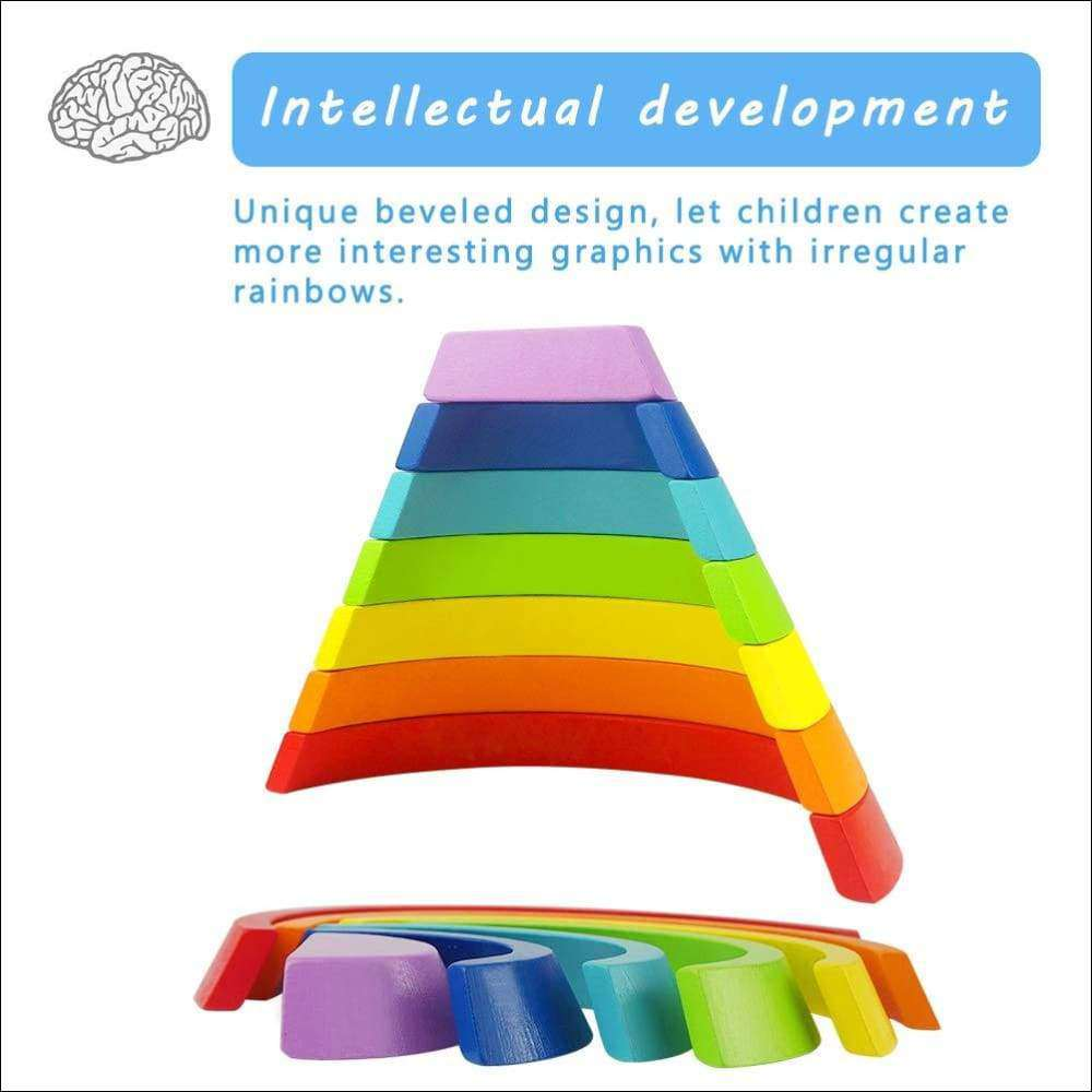 Wooden Rainbow Stacking Toy Nesting Building Blocks for kids | Heccei