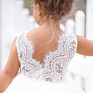Beaded Lace Back Tutu Flower Little Girls Dress