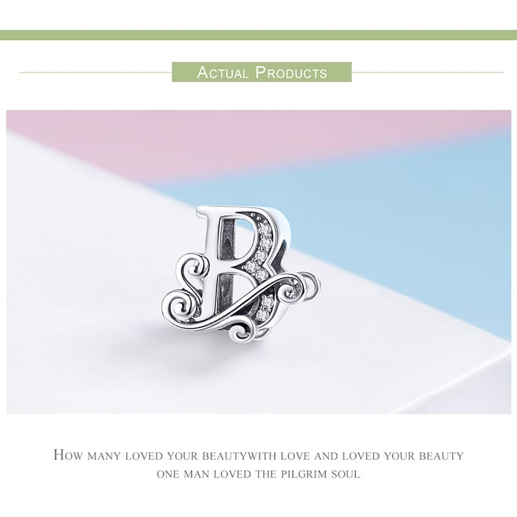 Newest 925 Sterling Silver A to Z Alphabet Bead Charms