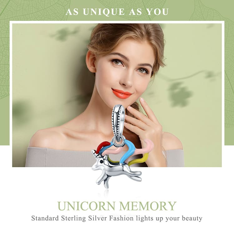 Sterling Silver Colorful Unicorn Charm Pendant Beads