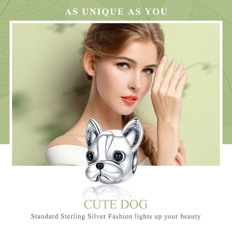 Bulldog Beads fit Women Charm Bracelets Dog DIY Jewelry
