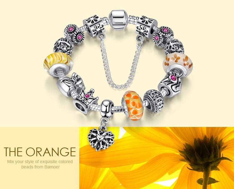 Silver Bracelets & Bangles With Queen Crown Beads Women/Girls
