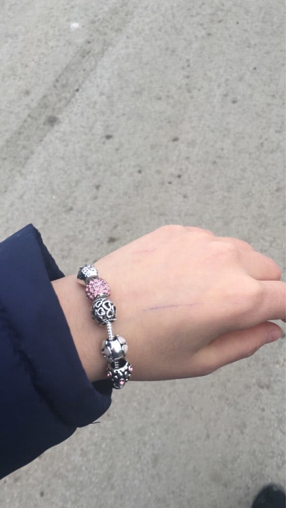 Silver Bracelets & Bangle with Love and Flower Beads for Women/Girls