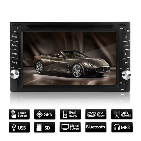 "6.2"" GPS Navigation HD 2DIN Bluetooth Car Stereo DVD Player Touch Screen USB SD + Camera European Map"