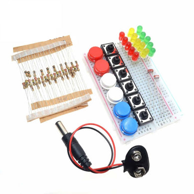 Buttons, LED's, Resistors and breadboard kit