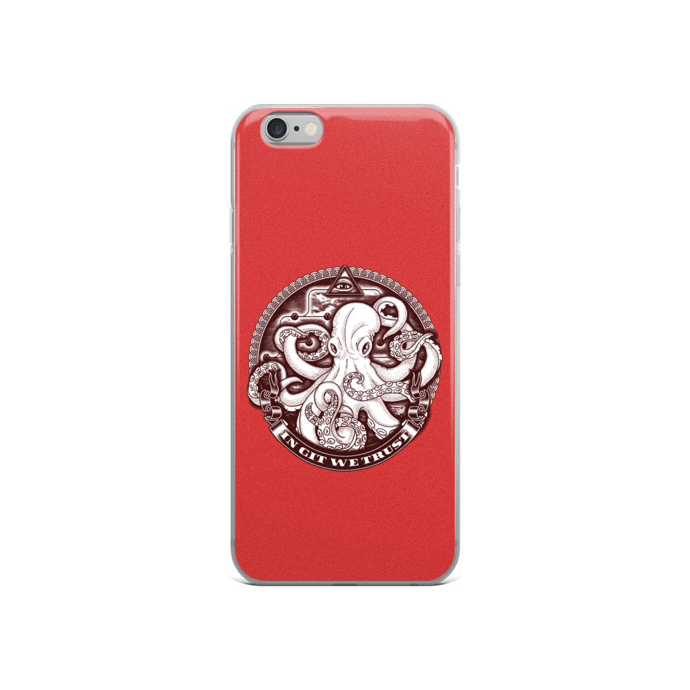 In GIT We Trust, black on red iPhone case